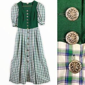 VINTAGE COTTAGECORE Green Plaid Dress Distler